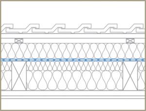 Skizze für die flächige Verlegung einer Dampfbremse über den Sparren