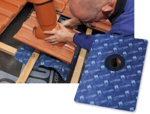 Die Größe von ROFLEX exto ermöglicht ein leichtes Verkleben mit der Unterdeckung bzw. Unterspannung unter dem positionierten Lüfterziegel.