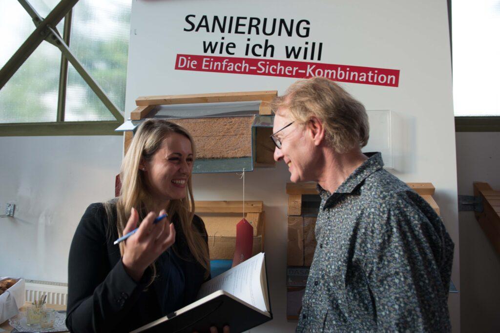 Iris Leber von pro clima interviewte Geschäftsführer Uwe Bartholomäi nach seinem Bauslam-Auftritt.