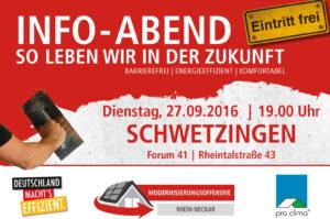 Infotainment-Abend für Bauherren:Die Modernisierungsoffenisve ist am 27. September in Schwetzingen